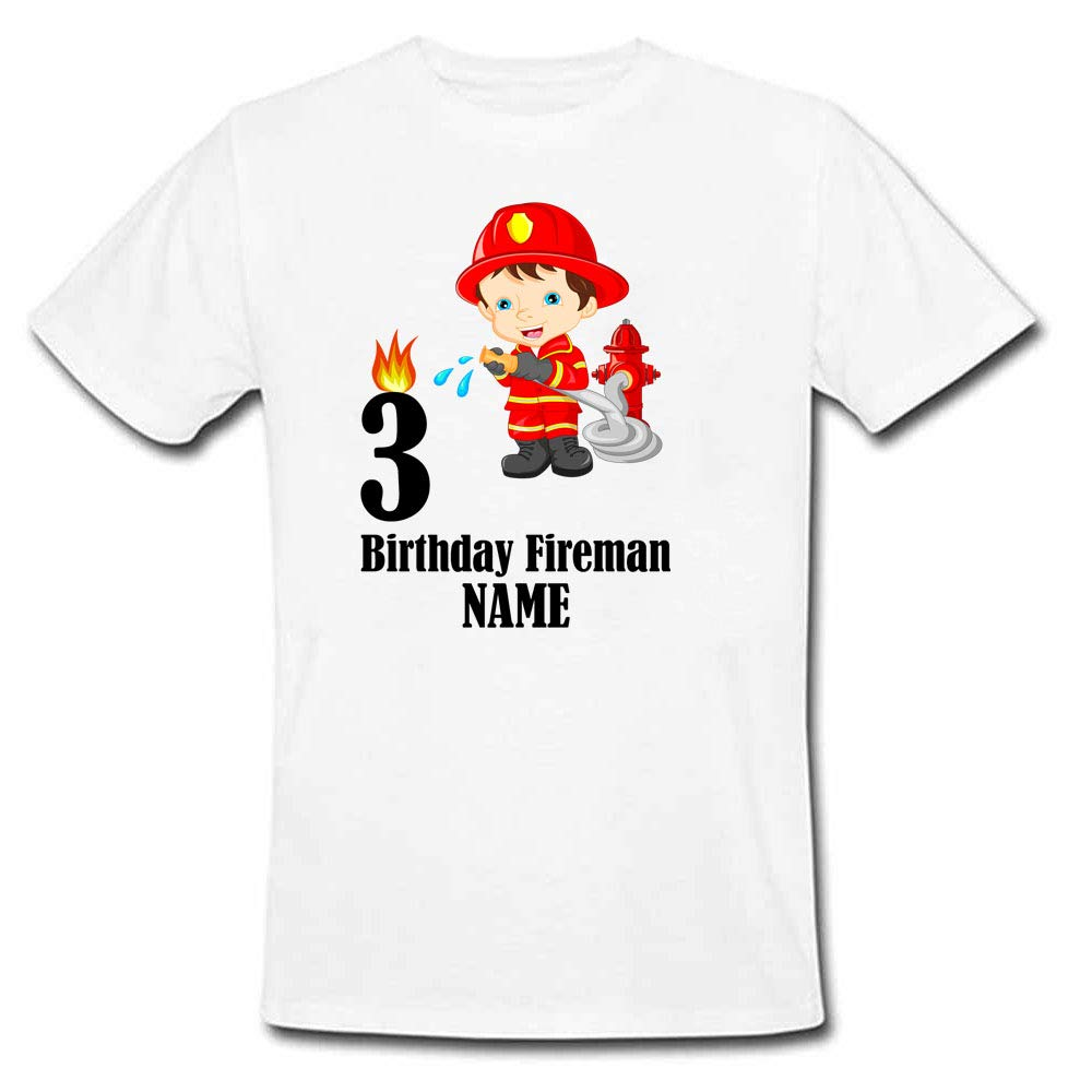 Sprinklecart Personalized Fireman 3rd Birthday Tee for Your Little Hero, Kids Poly-Cotton (White)