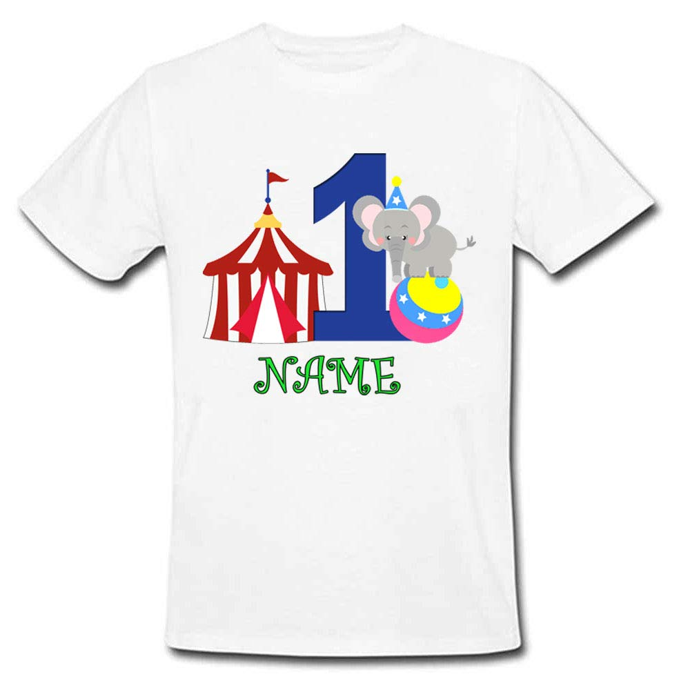 Sprinklecart Circus Themed Customized 1st Birthday Tee Gift for Kids, Poly-Cotton (White)