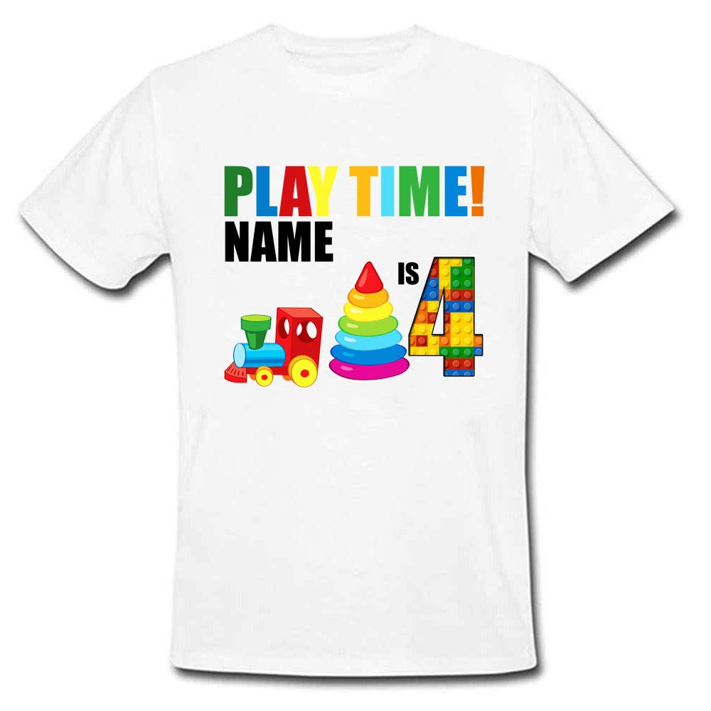 Sprinklecart Custom Name and Age Printed Gaming Themed Birthday T Shirt for Kids, Poly-Cotton (White)