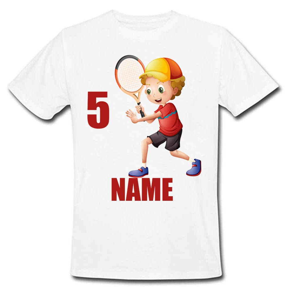 Sprinklecart Kids Badminton 5th Birthday Personalized Poly-Cotton T Shirt Gift (White)