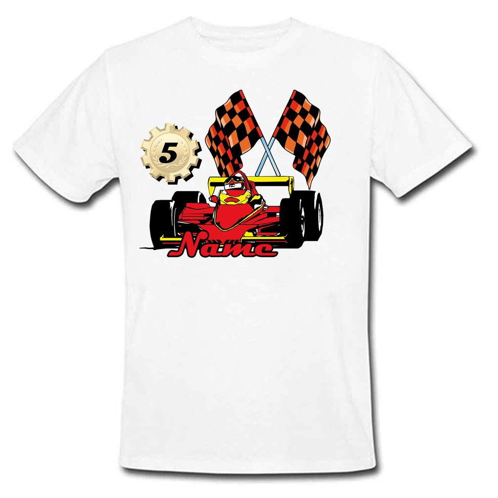 Sprinklecart Custom Name and Age Printed Racing Car 5th Birthday T Shirt for Kids, Poly-Cotton (White)