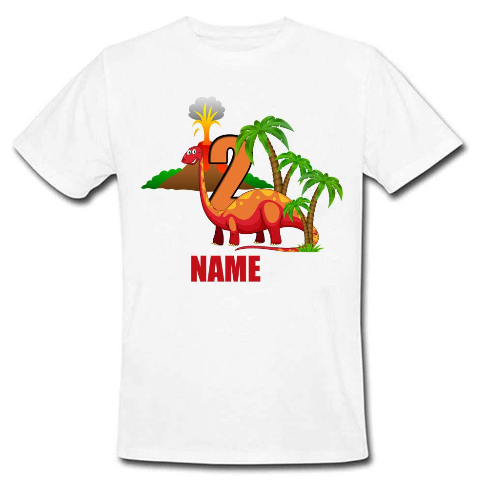 Sprinklecart Kids Dinosaur 2nd Birthday T Shirt for Your Little One, Poly-Cotton (White)
