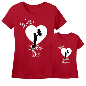 Sprinklecart Worlds Luckiest Dad & Daughter Printed T Shirts |Lovely Tee for Dad and Daughter (Red)