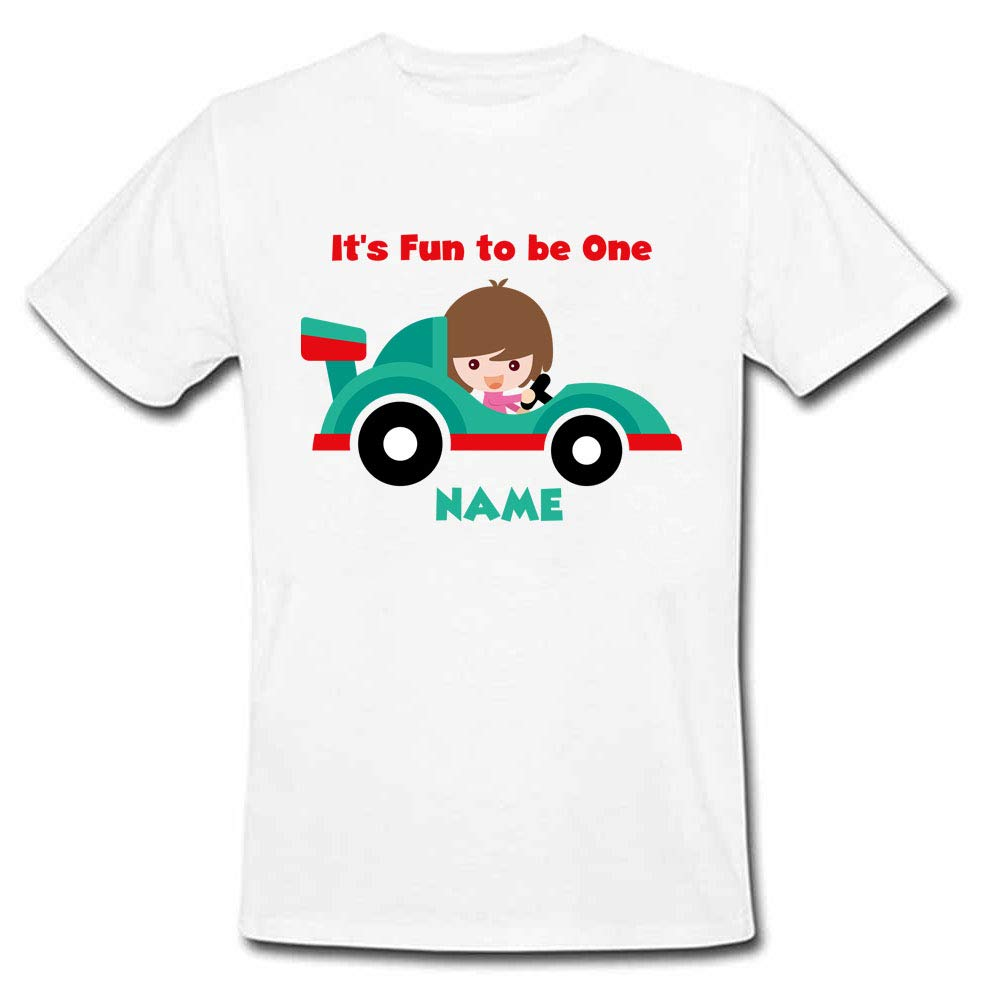 Sprinklecart It's Fun to Be One Printed Personalized Car Kids T Shirt, Poly-Cotton (White)