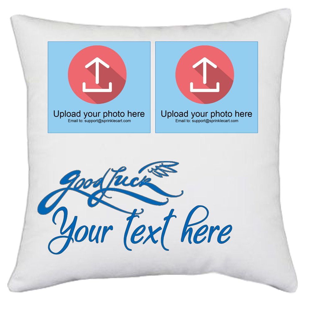 Sprinklecart's Personalized Photo and Text Printed Good Luck Gift Pillows and Cushions | 15″ x 15″ with Filler Insert