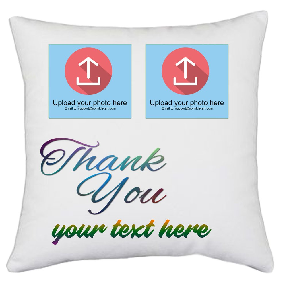 Sprinklecart's Personalized Text and Photo Printed Thank You Gift Cushions and Pillows | 15″ x 15″ with Filler Insert