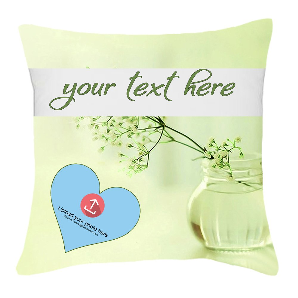 Green Blossom Background | Customized Photo & Text Printed Pillow Gift by Sprinklecart | 15″ x 15″ with Filler Insert