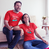 Sprinklecart I'm Her Nice I'm His Naughty Printed Couple T Shirt | Matching Couple T Shirts