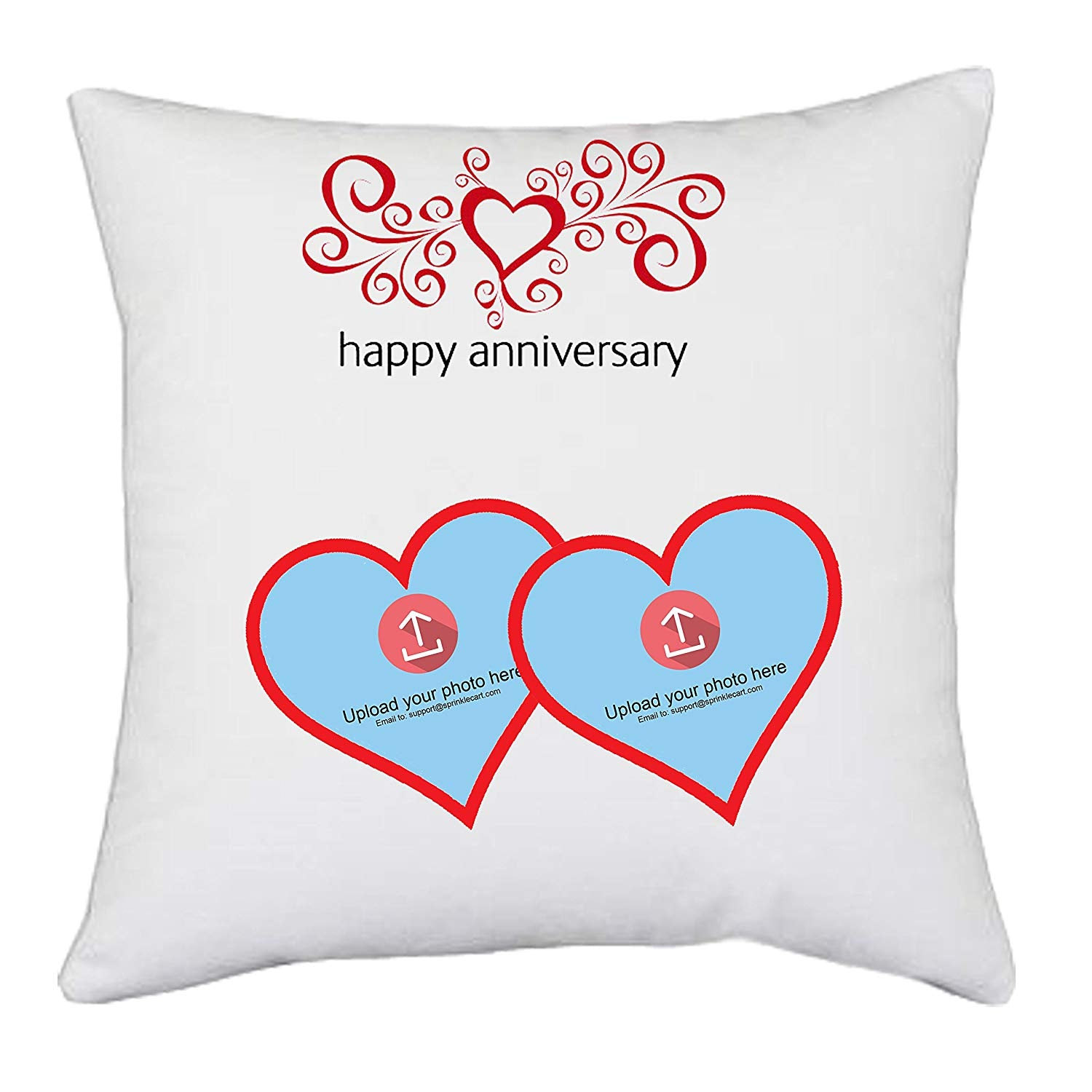 Happy Anniversary | Sprinklecart's Customized Couple Photo Printed Gift Pillows | 15″ x 15″ with Filler Insert