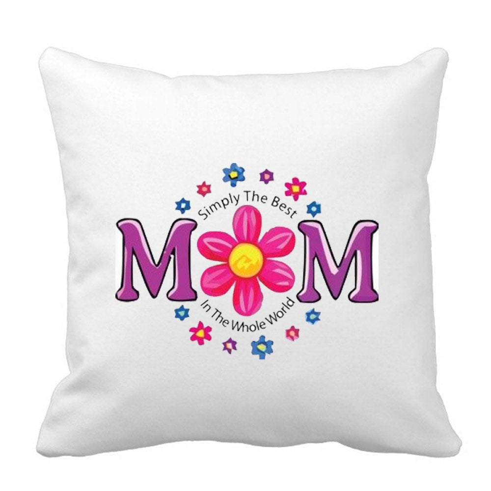 Sprinklecart's Simply The Best Mom in The Whole World Satin Cushion – 15″ x 15″ Size – Perfect Gift for Any Occassion