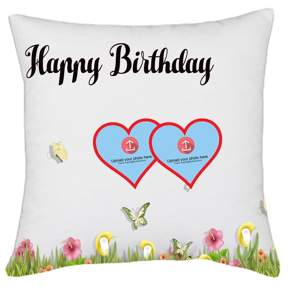 Happy Birthday Gift | Lovely Photo Pillow Cover by Sprinklecart for Your Loved One | 15″ x 15″ with Filler Insert