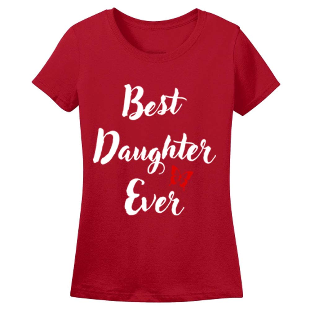 Sprinklecart Best Dad Ever and Daughter Lovely T Shirt | Tee Combo Collection (Red)