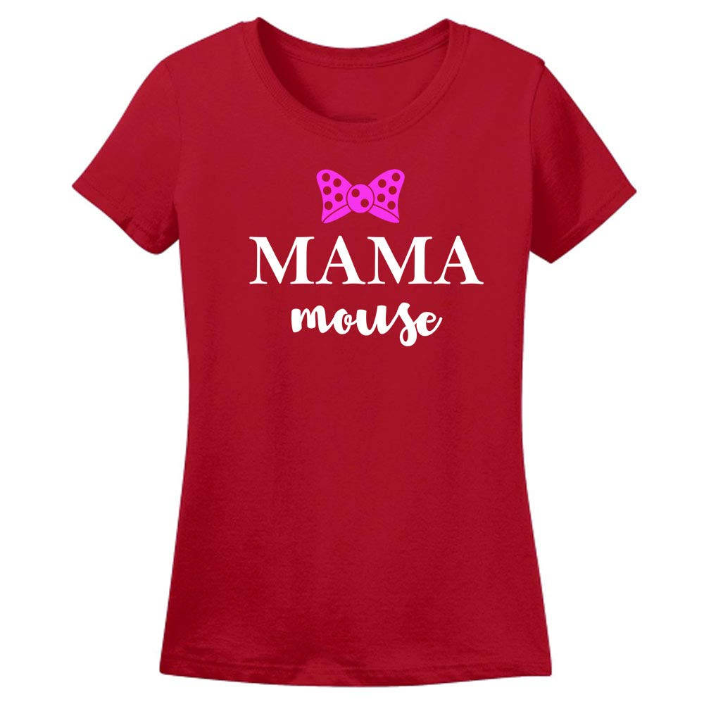 Sprinklecart Lovely Mama Mouse, Mini Mouse T Shirt | Cotton T Shirt Combo for Mother and Daughter (Red)