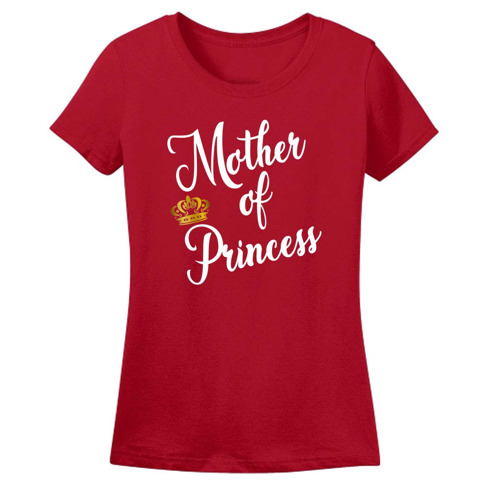 Sprinklecart Mother of Princess and Daughter of Queen Matching Unisex Cotton T Shirt for Mom and Daughter