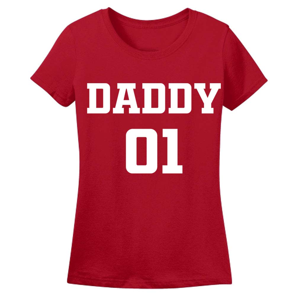 Sprinklecart Daddy No.1 & Daddy's Girl No.1 T Shirt | Dad and Daughter Tee Collection (Red)