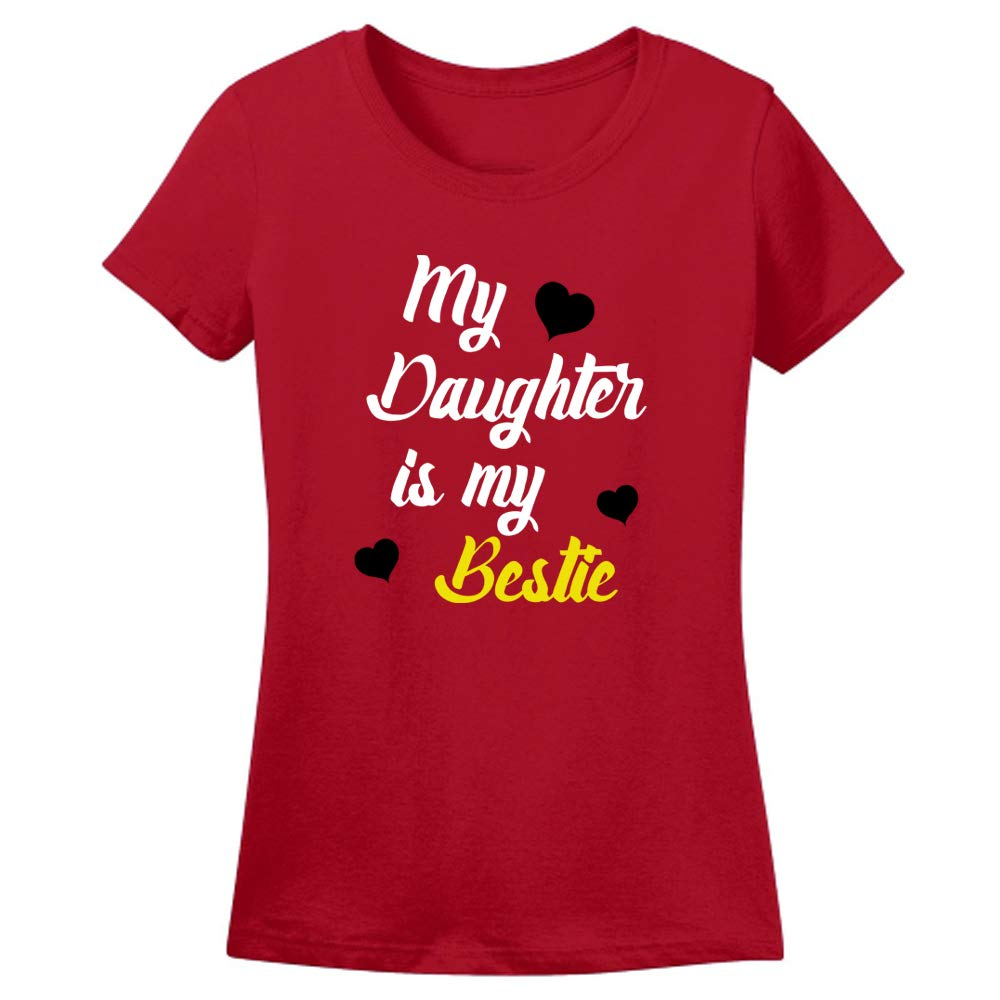 Sprinklecart Cotton T-Shirt Set for Mom and Daughter | My Daughter is My Bestie, Mommy's Bestie Printed T Shirt Combo (Red)