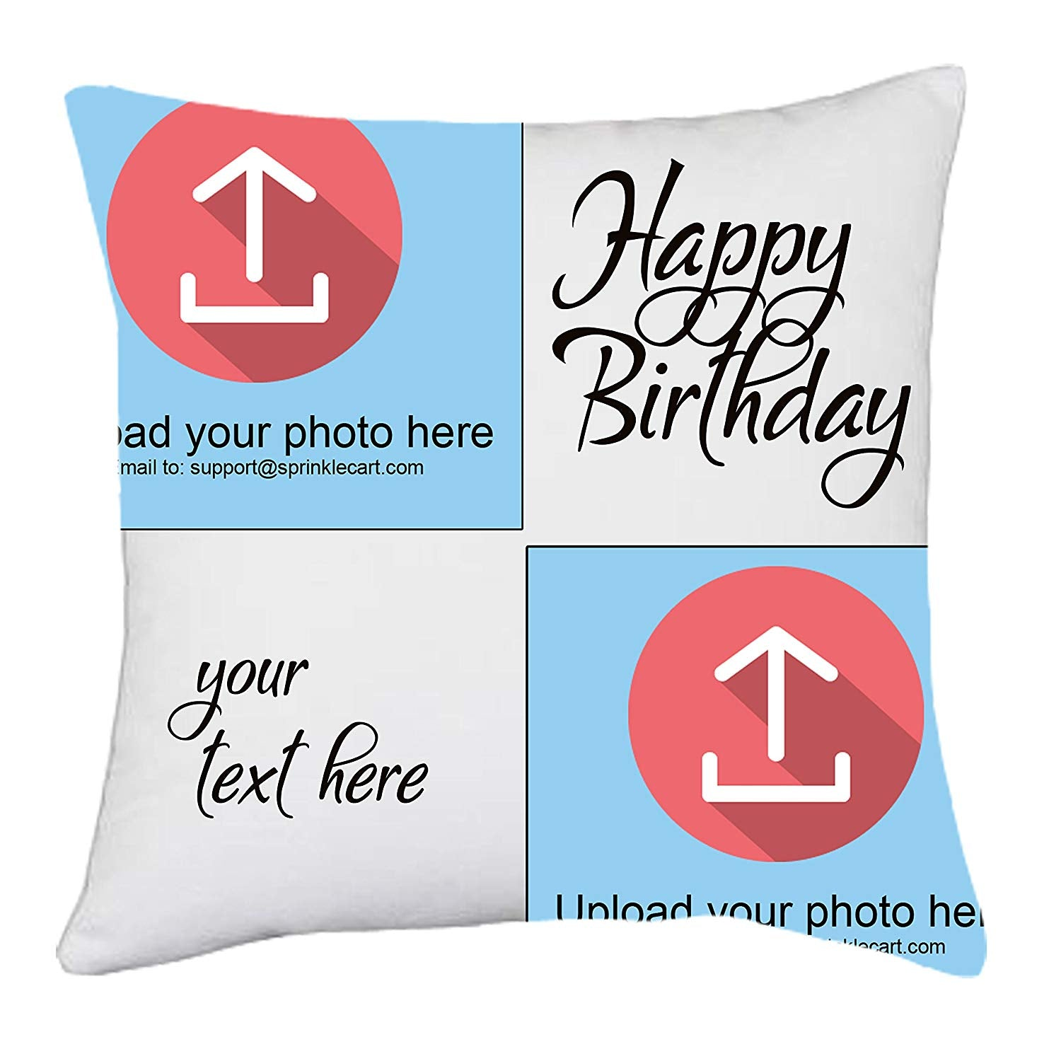 15″ x 15″ Inches Happy Birthday Gift Cushions with Fully Personalized Photo and Text by Sprinklecart