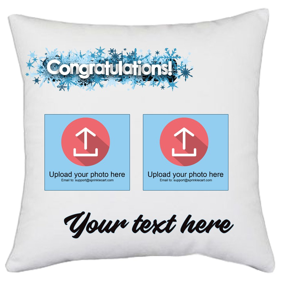 Surprise Gift for The Winner | Sprinklecart's Personalized Text and Photo Printed Pillows and Cushions | 15″ x 15″ with Filler Insert