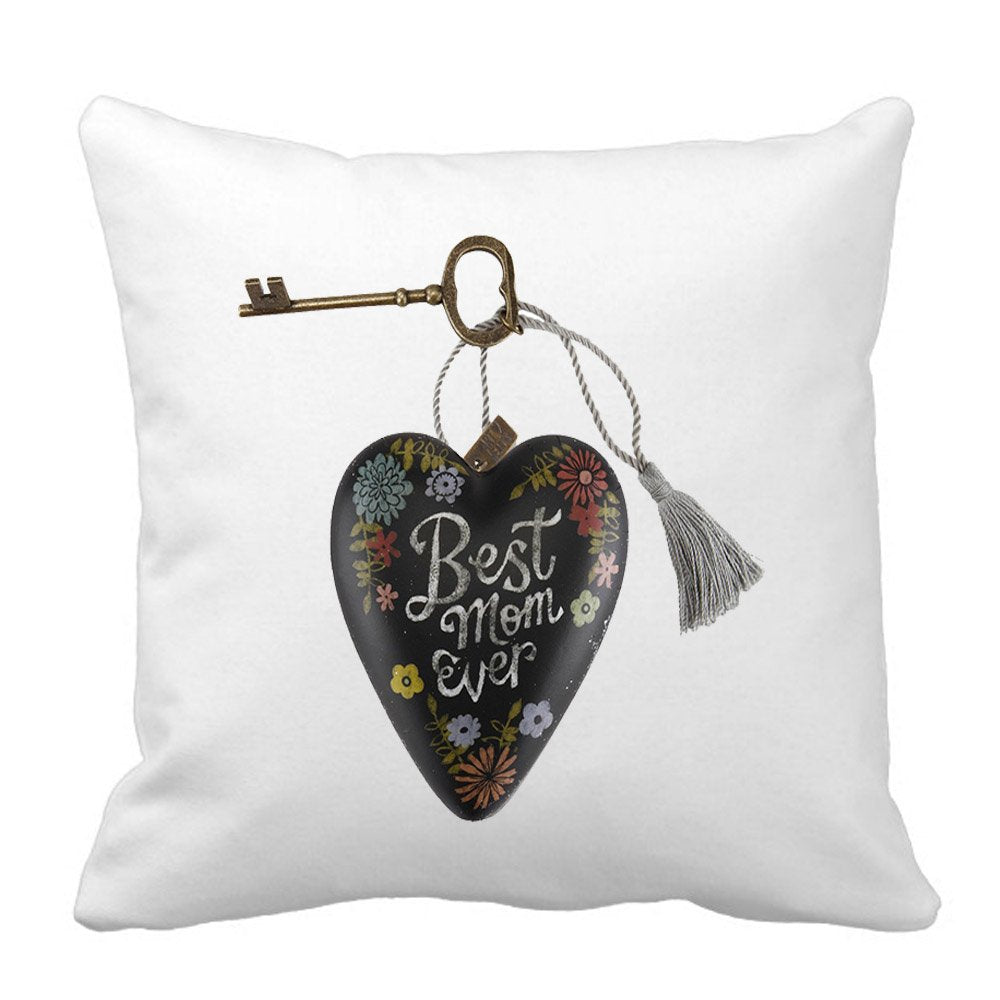 Key to Mother's Heart – Best Mom Ever Pillow by Sprinklecart – 15″ x 15″ Size – Perfect Gift for Any Occassion