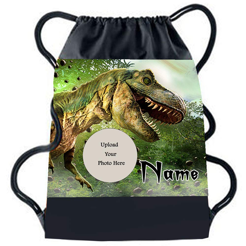 Sprinklecart Customized Name Printed Dinosaur Kids Special Gym Bag for Your Little Super Hero