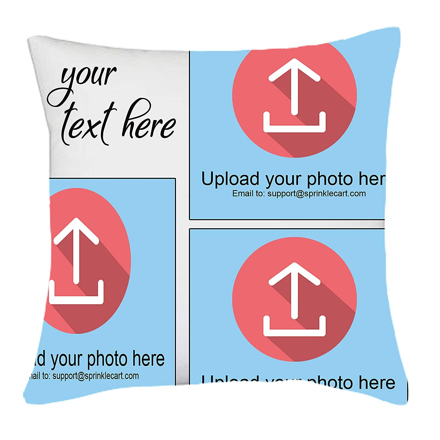 Sprinklecart's Completely Personalized Text and Photo Printed Gift Pillow Cover | 15″ x 15″ with Filler Insert