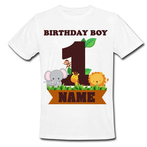Sprinklecart Unique Design Jungle Themed Birthday Tee | Personalized 1st Birthday Dress
