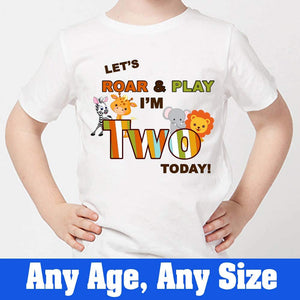 Sprinklecart Let's Roar & Play I'm Two Today! Birthday T Shirt Jungle Themed Birthday Dress