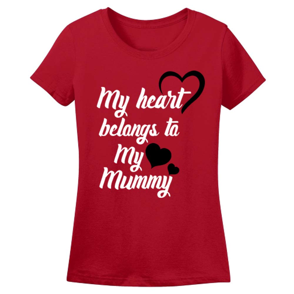 Sprinklecart Cotton T-Shirt Set for Mom and Daughter | My Heart Belongs to My Daughter, My Heart Belongs to My Mummy T Shirts (Red)