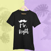 Sprinklecart Mr. Right Mrs. Always Right Couple T Shirt | Matching Cotton T Shirt for Couples