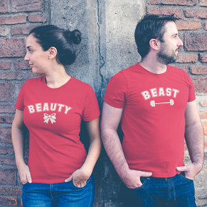 Sprinklecart Set of Matching Beauty Beast Couple T Shirt | Combo of 2 Cotton T Shirts