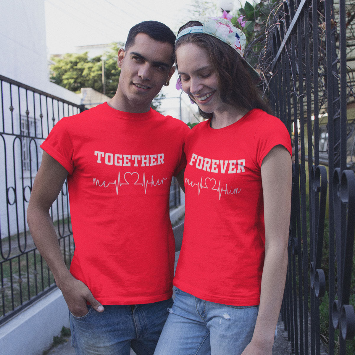 Sprinklecart Set of 2 Cotton T Shirt | Together Forever Printed T Shirts for Couples