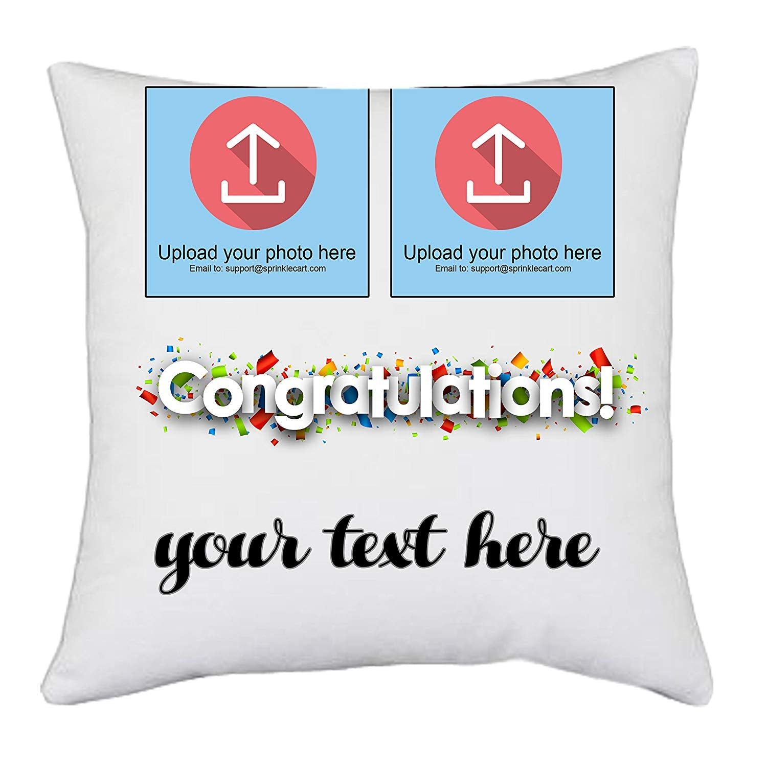 Sprinklecart's Customized Message and Photo Printed Congratulations Gift Cushions for Your Dear One | 15″ x 15″ with Filler Insert