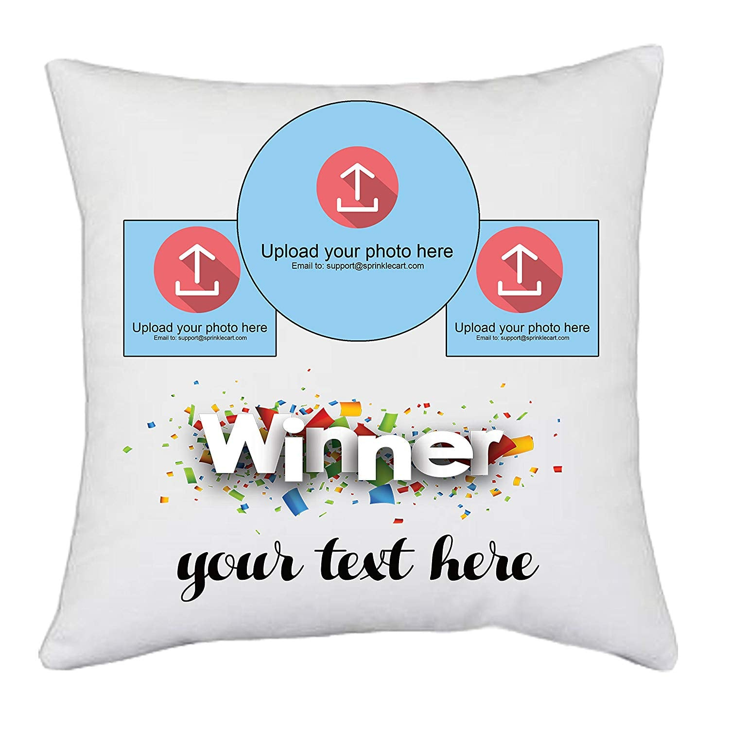 Appreciate The Winner | Personalized Photo & Message Printed Pillow Gift by Sprinklecart for The Achiever | 15″ x 15″ with Filler Insert
