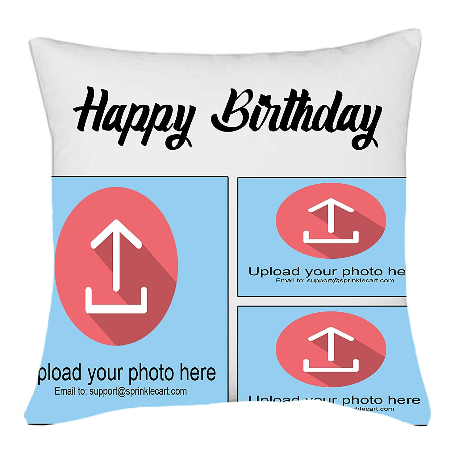 Personalized Photo Printed Unique Happy Birthday Gift Cushion by Sprinklecart | 15″ x 15″ with Filler Insert