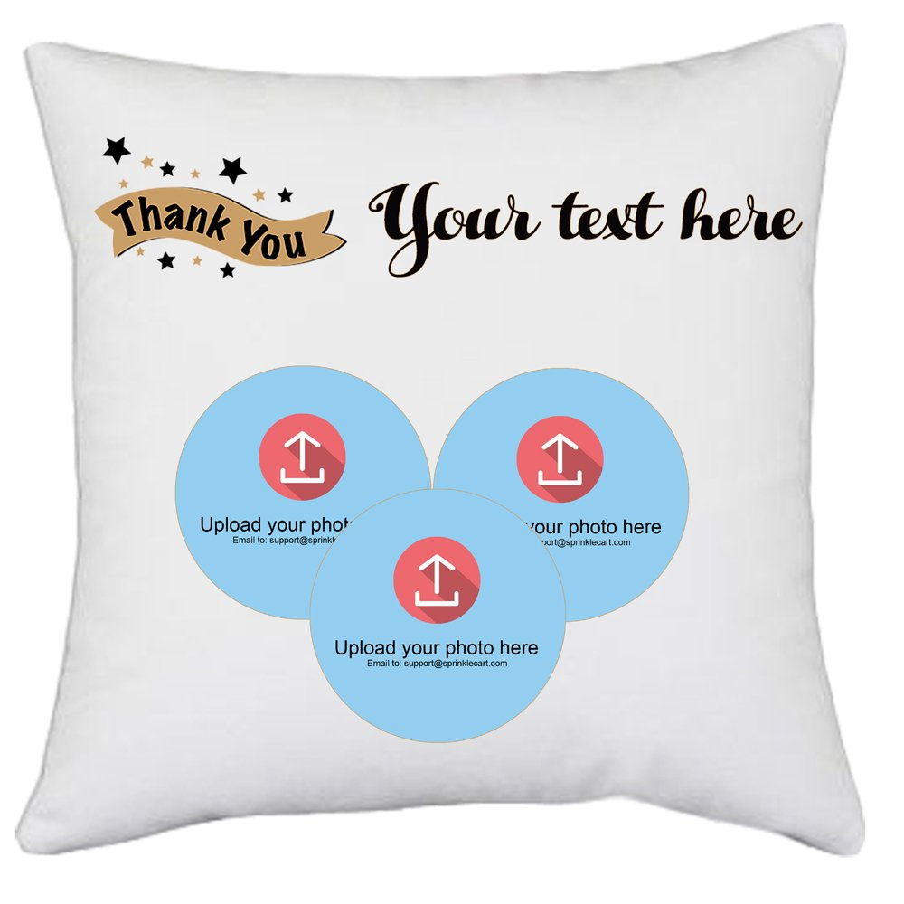 Special Thank You Gift | Customize Your Cushion with Message and Photo by Sprinklecart | 15″ x 15″ with Filler Insert