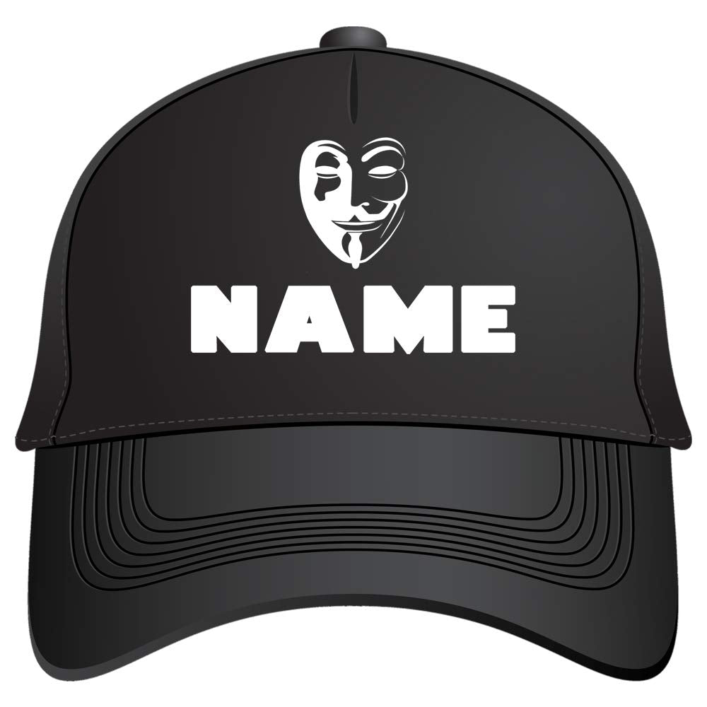 Sprinklecart Anonymous Face Printed Snap Back Caps | Custom Name Printed Cap with Adjustable Strap