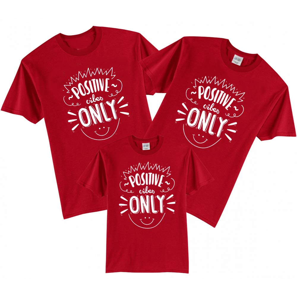 Sprinklecart Positive Vibes Only Printed Family T Shirt | Set of 3 Red Cotton T Shirt