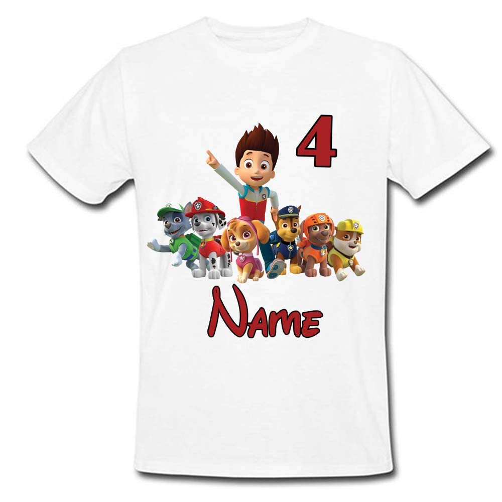 Sprinklecart Paw Patrol Birthday T Shirt | Custom Age and Name Printed Birthday Wear