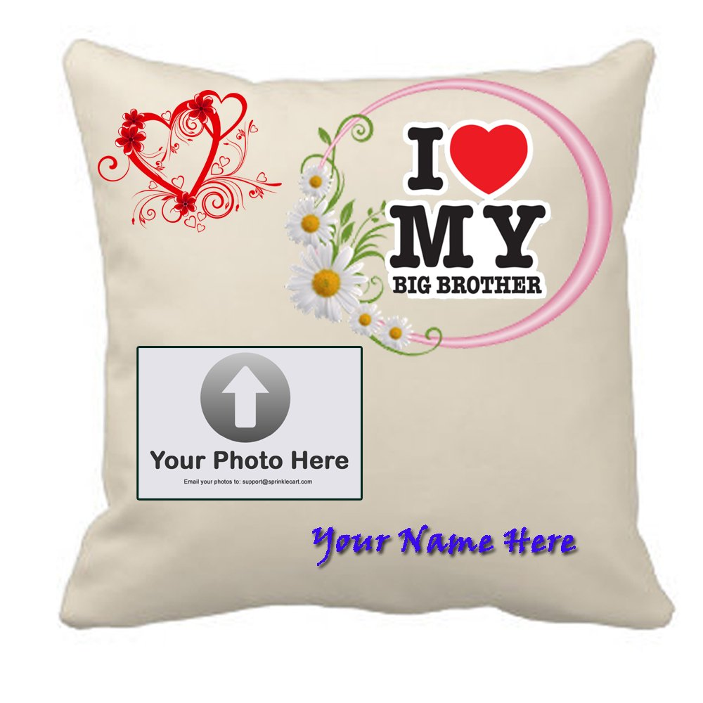 Sprinklecart Personalized Photo & Name Printed I Love My Big Brother Cushion – 15″ x 15″ Size – Perfect Gift for Any Occasions