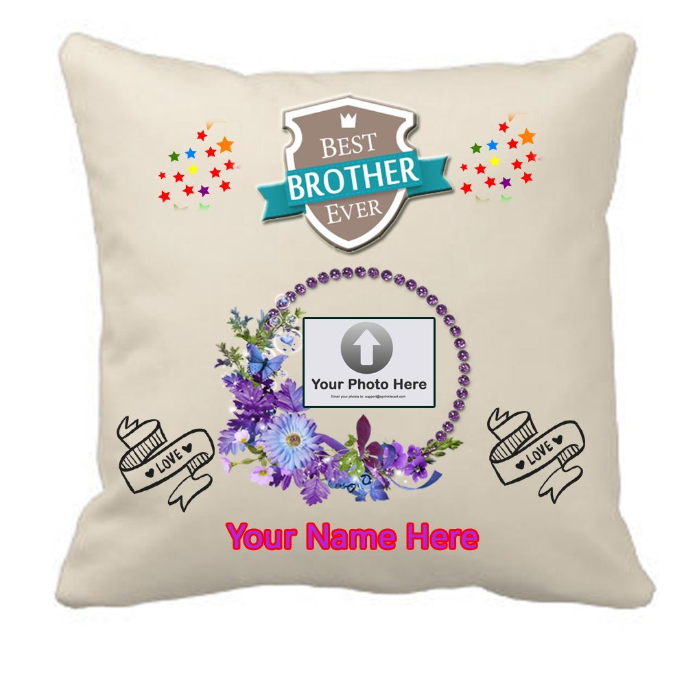 Sprinklecart Satin Customized Photo & Name Printed Best Brother Ever Cushion – 15″ x 15″ Size – Perfect for Birthday Gift and Other Occasions