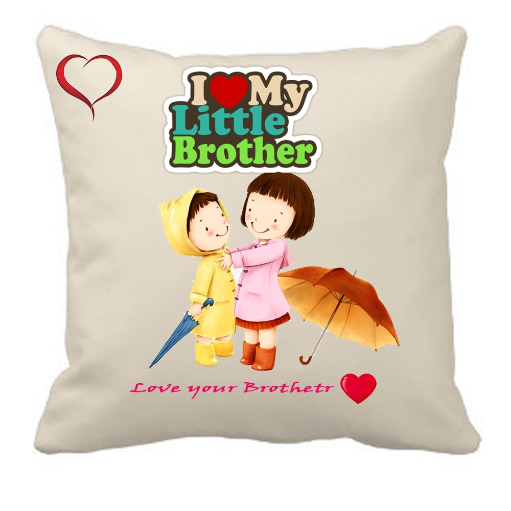 Sprinklecart Square Shaped Colorful I Love My Little Brother Cushion – 15″ x 15″ Size – Perfect Gift for Any Occasions