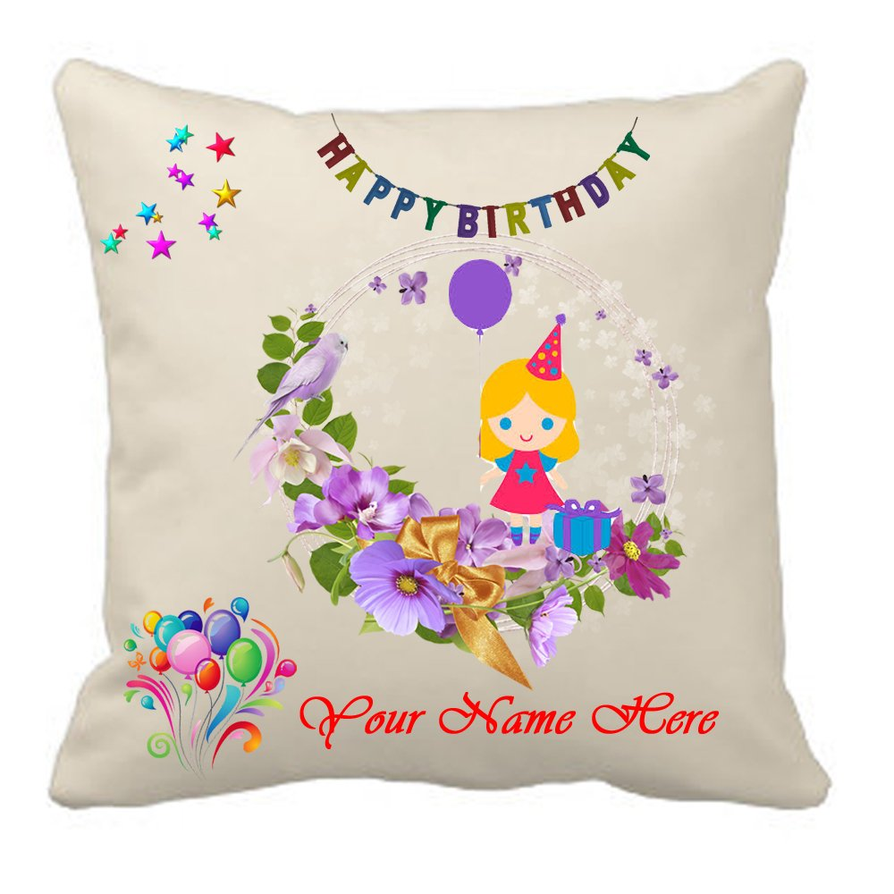 Sprinklecart Square Shaped Name Printed Happy Birthday Cushion – 15″ x 15″ Size – Perfect for Birthday Gift