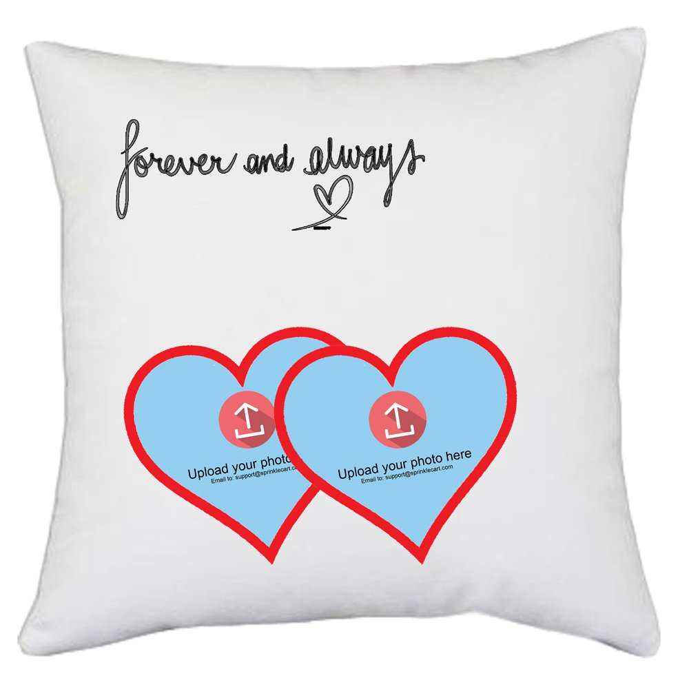 Sprinklecart's Customized Photo Printed Gift Cushion for Your Better Half | Forever and Always | 15″ x 15″ with Filler Insert