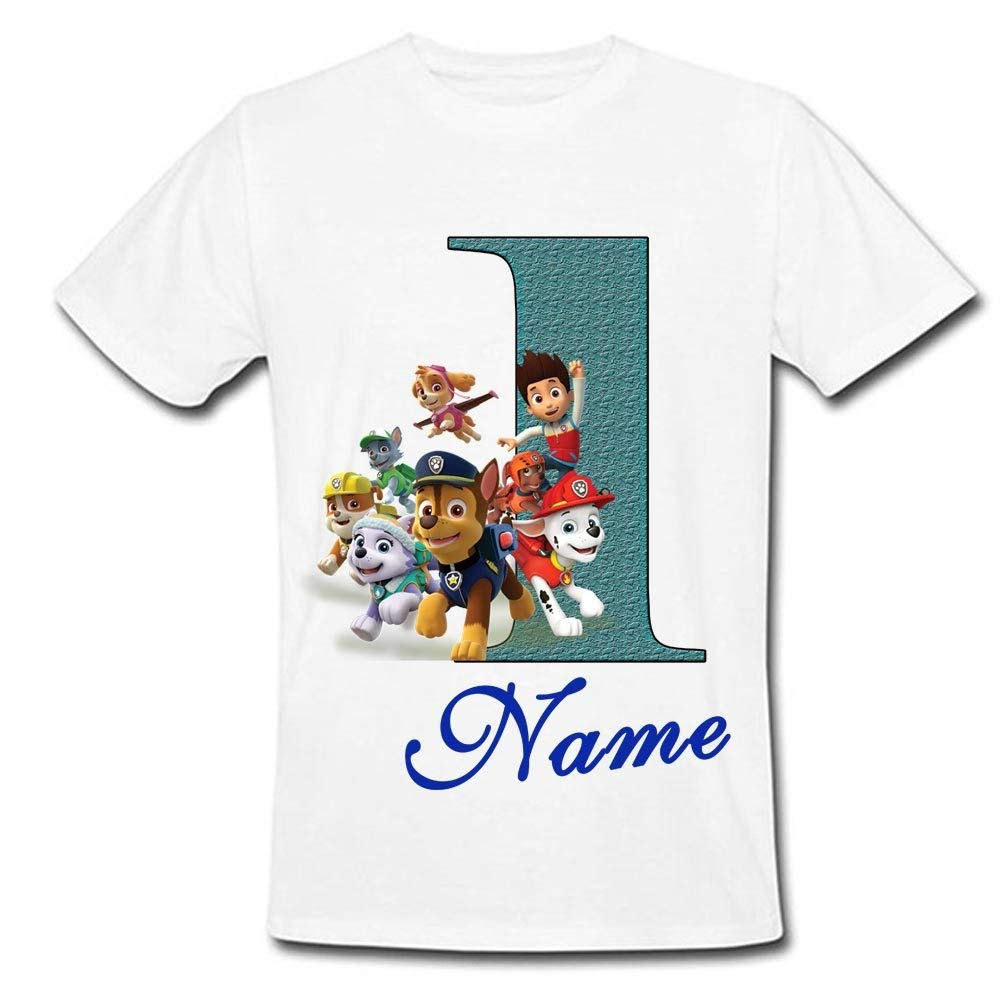 Sprinklecart Customized Name Printed Kids Special PAW Patrol 1st Birthday Gifting Tshirt