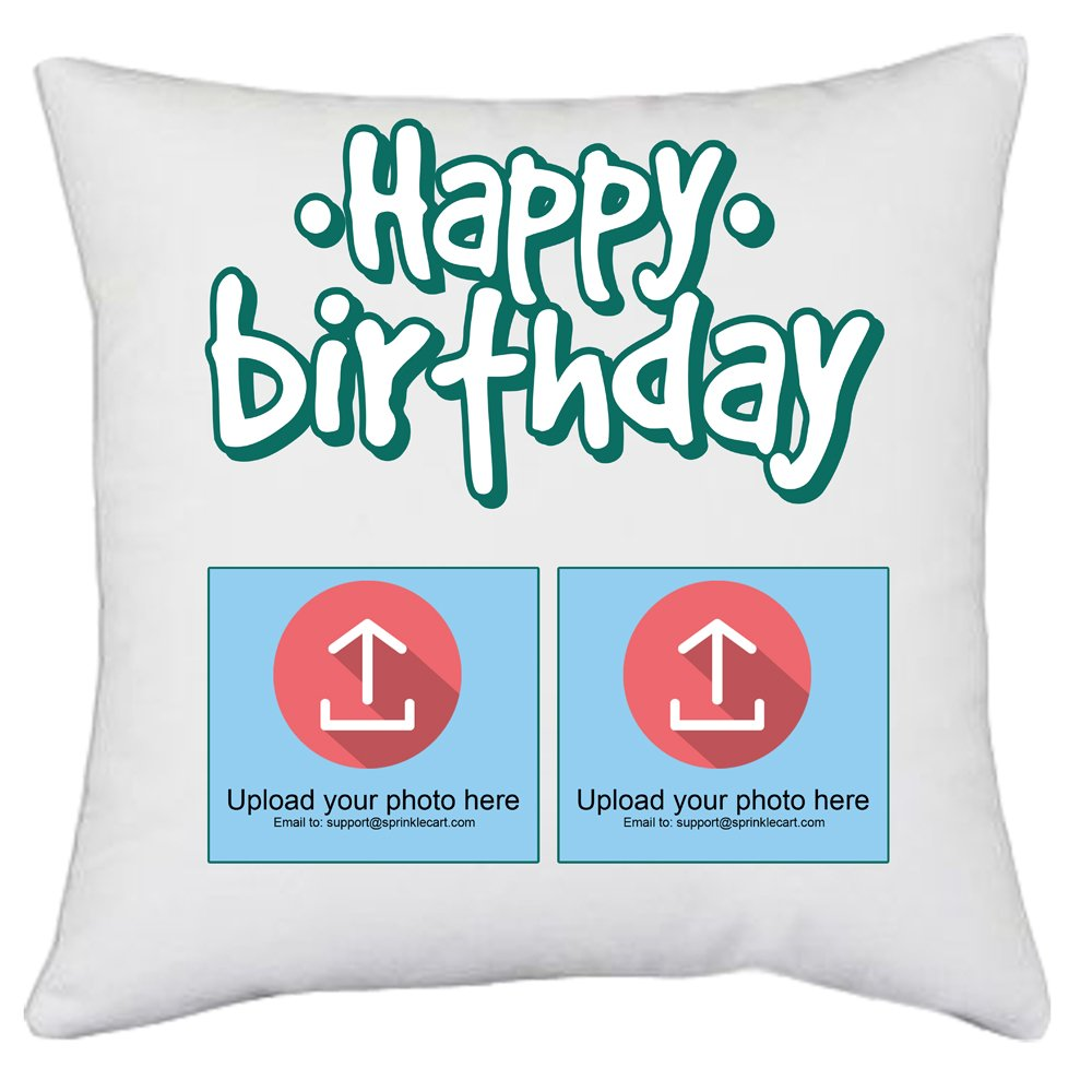 Sprinklecart's Customized Photo Printed Ideal Happy Birthday Gift Cushions | 15″ x 15″ with Filler Insert