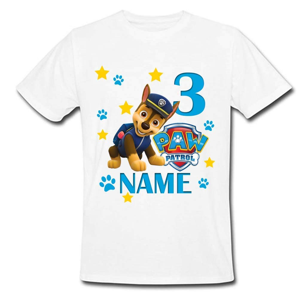 Sprinklecart Custom Name and Age Printed Paw Patrol Chase Themed Birthday Tee | 3rd Birthday Wear