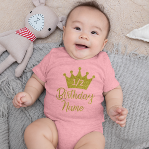 Sprinklecart Half Birthday Personalised Name Printed Cotton Baby Onesie