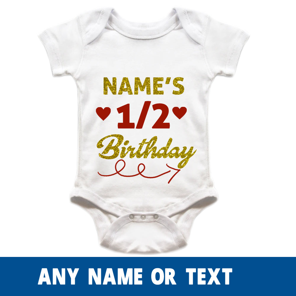 Sprinklecart Half Birthday Customised Name Printed Cotton Baby Romper