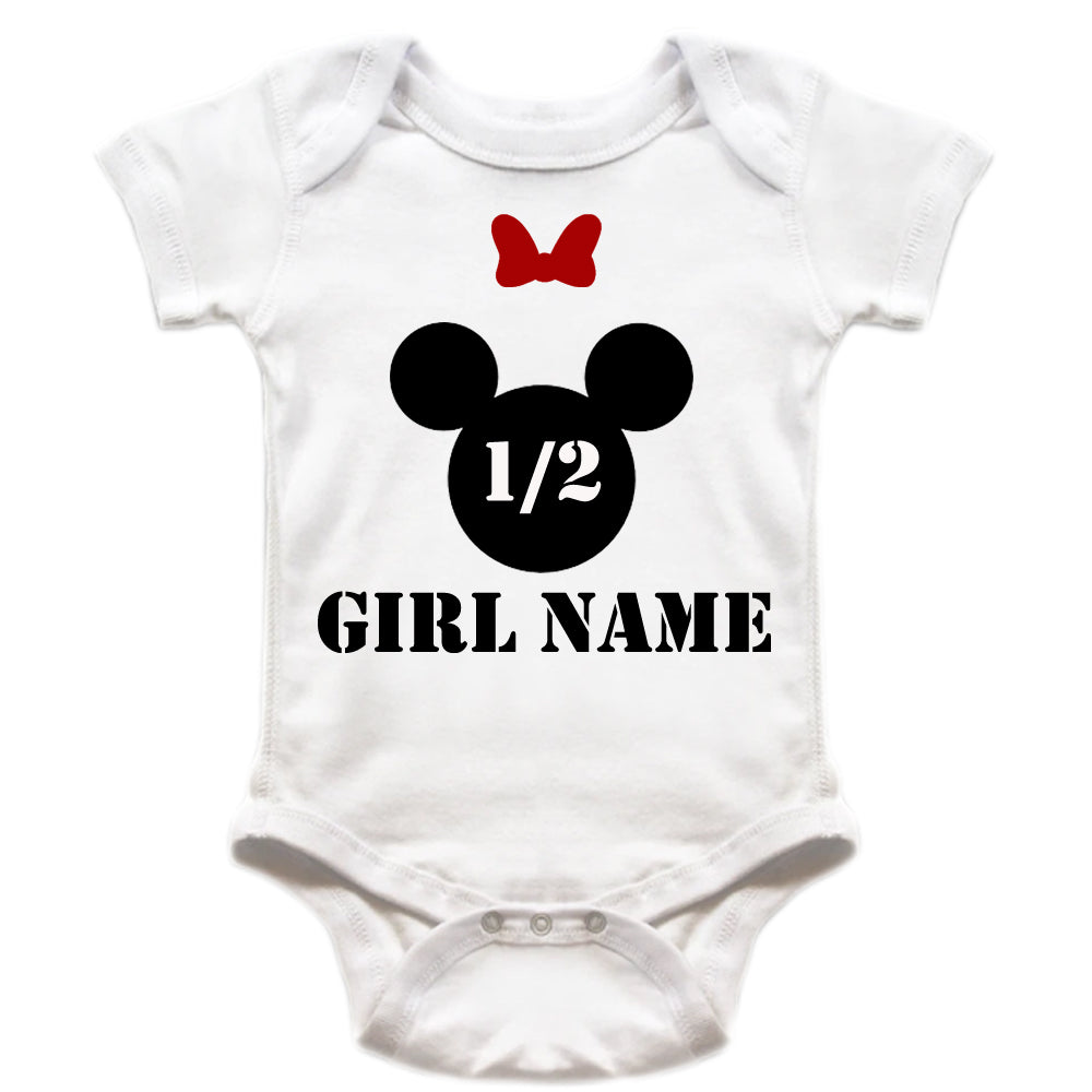 Sprinklecart Half Birthday Minny Personalised Name Printed Cotton Baby Romper