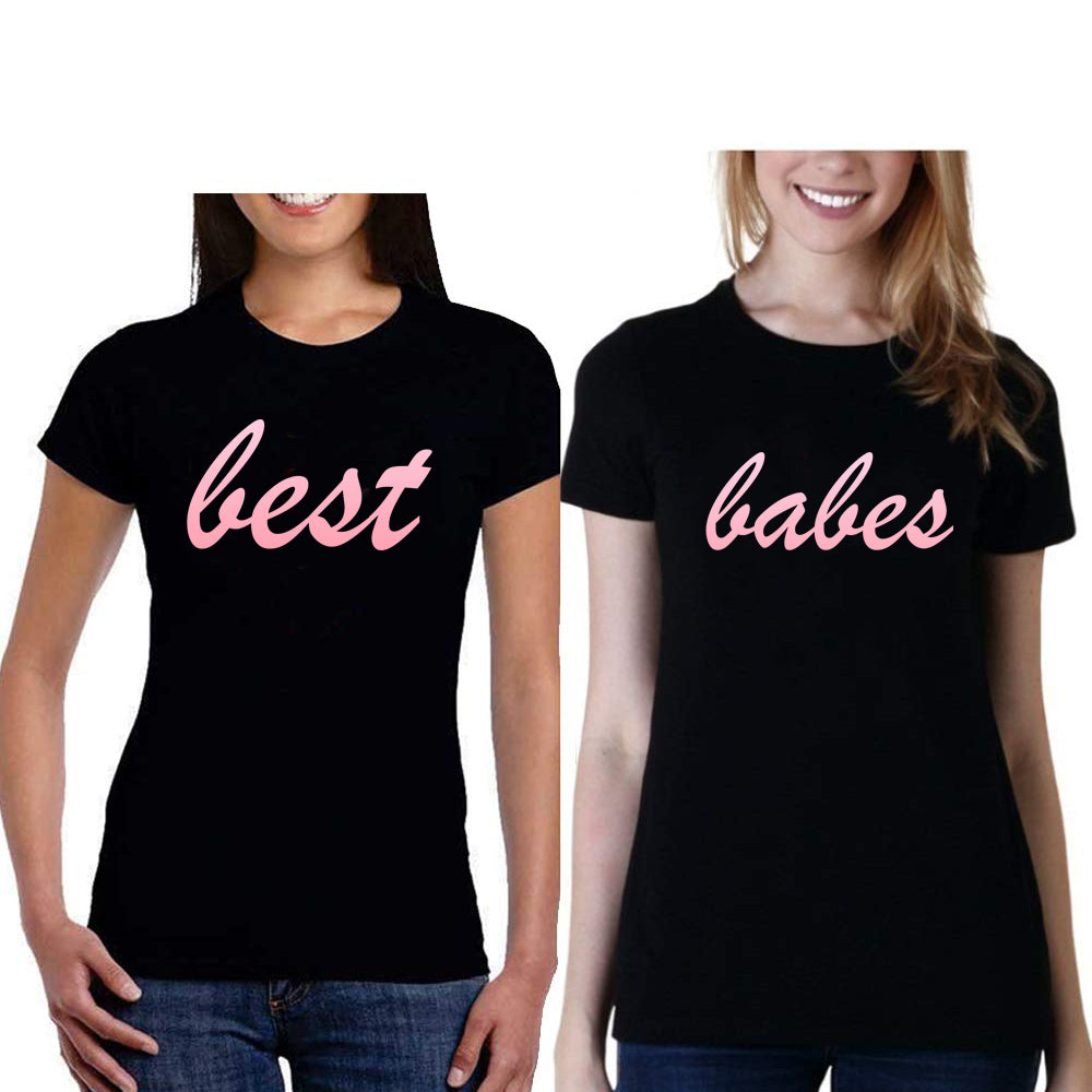 Sprinklecart Best Babes Matching Cotton Stylish T Shirt Set for Friends